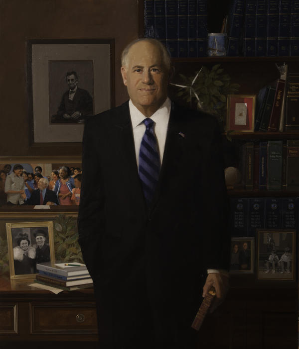 Former governor Pat Quinn's official portrait, painted by William T. Chambers of Illinois. Quinn is said to be surrounded by 44 symbols from his life and political career.