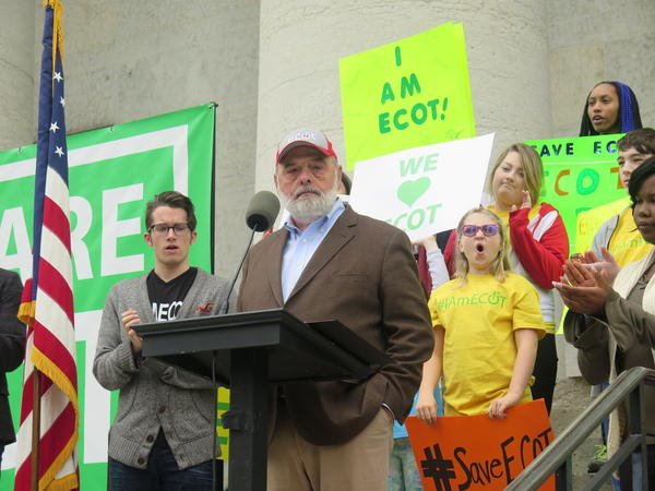 ECOT founder Bill Lager speaks to the crowd of students, parents and teachers.