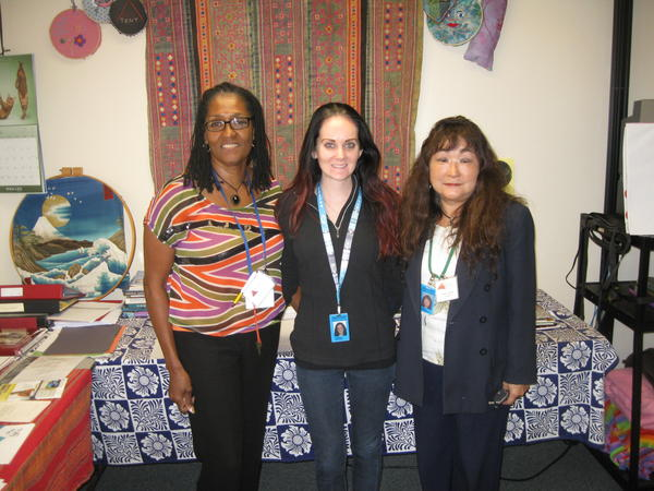 "Red Tent counselors. From left to right: Crystal Adams Dixon,  Kimberly Shavers (intern), Nobuko ""Noko"" Coussoule"
