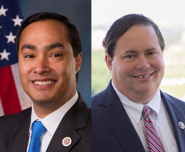 U.S. Reps. Joaquin Castro (left) and Blake Farenthold.