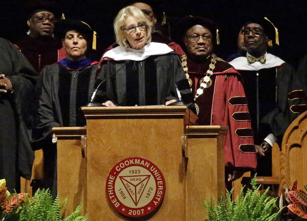 Secretary of Education Betsy DeVos delivers a commencement speech to graduates at Bethune-Cookman University, a historically black institution in Daytona Beach, Fla.