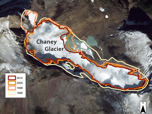 The perimeter of the shrinking Chaney Glacier in Montana's Glacier National Park in 1966, 1998, 2005 and 2015.