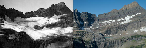 Shepard Glacier in Glacier National Park. A photo from 1913 on the left, on the right is 2005.