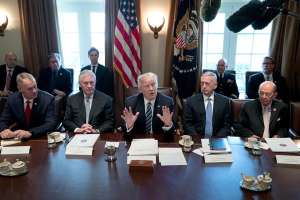 President Trump holds his first official meeting with members of his Cabinet, including Secretary of the Interior Ryan Zinke (from left), Secretary of State Rex Tillerson, Secretary of Defense James Mattis and Secretary of Commerce Wilbur Ross in March.