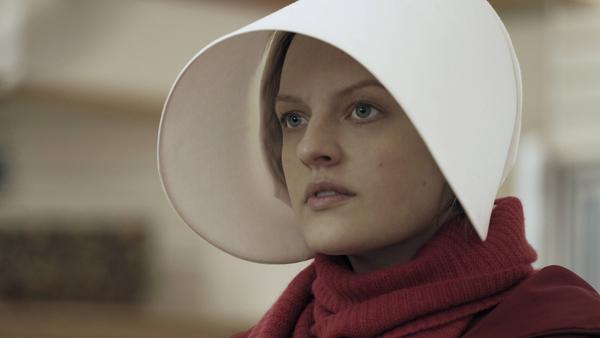 Offred (Elisabeth Moss) in the Hulu series<em> The Handmaid's Tale</em>.