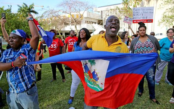Haitians demonstrate for extension of Temporary Protected Status (TPS) in Miami this month.