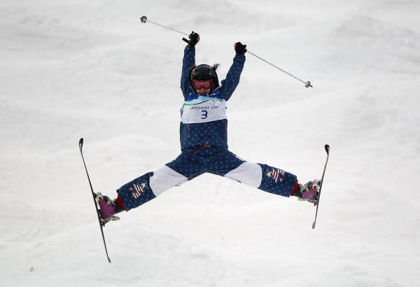 Hannah Kearney competes in the women's freestyle skiing aerials qualification at the Vancouver Winter Olympics in 2010.