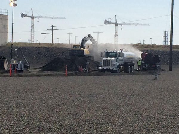 Workers at Hanford began filling a collapsed section of a rail car tunnel near the PUREX Plant on Wednesday morning.