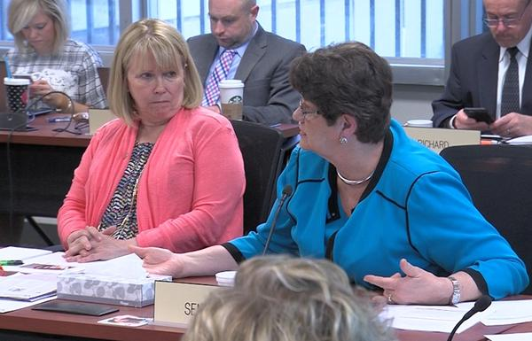 Sen. Peggy Lehner (R-Kettering) offers her opinions on the recommended graduation requirement changes during the State Board of Education meeting.