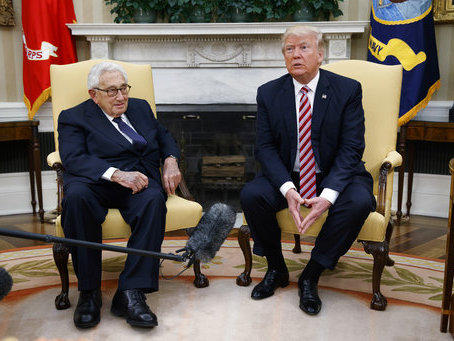President Donald Trump meets with Dr. Henry Kissinger, former secretary of state and national security adviser under President Richard Nixon, in the Oval Office on Wednesday, May 10, 2017.