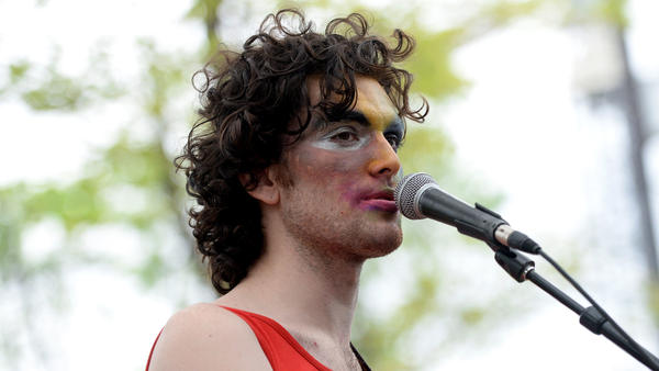 Singer Ben Hopkins of the band PWR BTTM performs onstage during the Pitchfork SXSW Day Party at the French Legation Museum on March 16, in Austin, Texas.