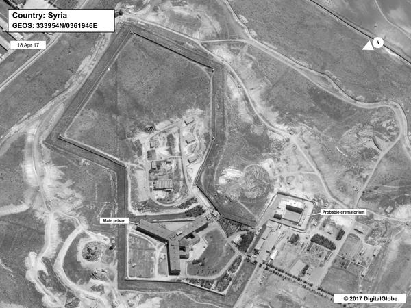 This satellite photograph taken on April 18 depicts what the State Department describes as a crematorium — in the bottom right of the image — built to dispose of the bodies of victims at Saydnaya military prison outside Damascus, Syria.