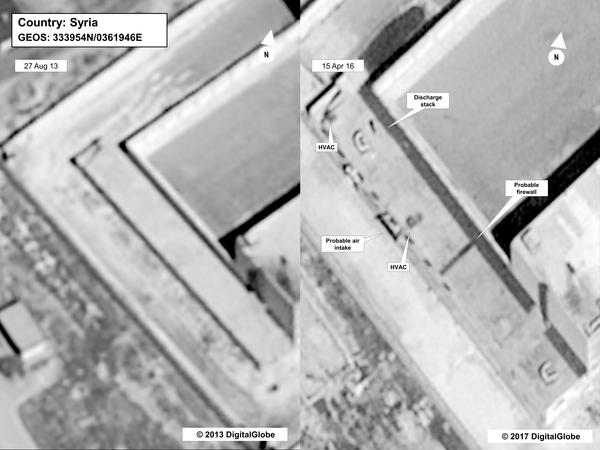 "This satellite image depicts the same section of the Saydnaya facility in 2013 (left) and in 2016. ""If you look at the earliest photo,"" Jones said, ""this is during the construction phase."" He says construction on the alleged crematorium was finished by 2015."