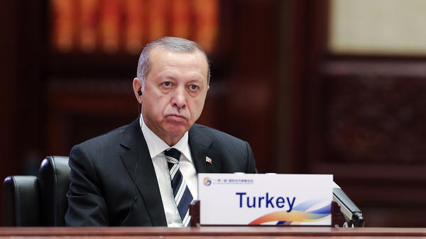 Turkish President Recep Tayyip Erdogan attends a summit in Beijing on Monday. He'll travel to Washington on Tuesday to meet with President Trump and discuss strategy for the fight against terrorism in Syria, which has divided the two countries.
