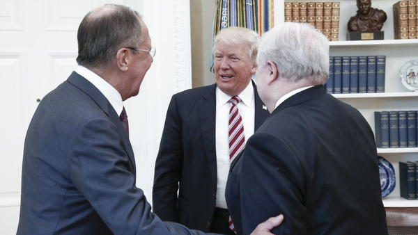 Russian Foreign Minister Sergey Lavrov (left) and Russian Ambassador to the U.S. Sergey Kislyak met with President Trump last week in the Oval Office.