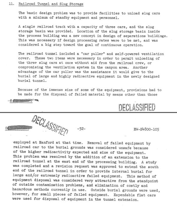 An excerpt from a declassified 1958 report detailing how the rail tunnel near teh PUREX plant was used.