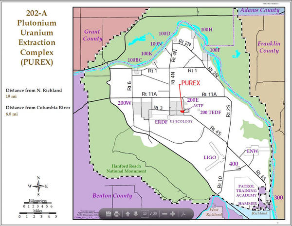 This map shows the location of the PUREX plant on the 586-square-mile Hanford Site.