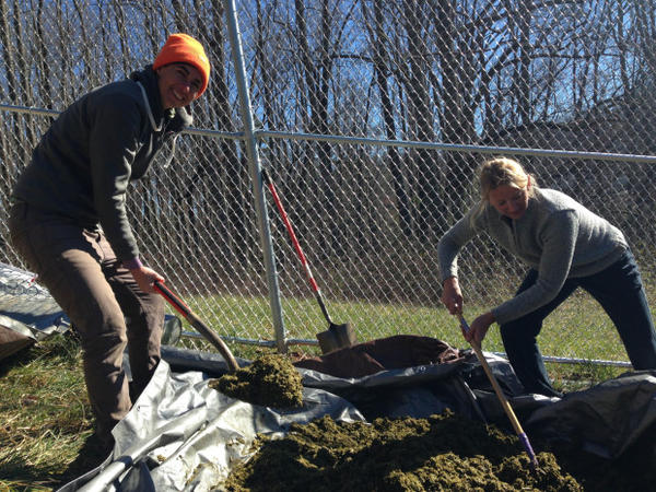 <p>Katrina Spade (left), founder of the Urban Death Project, prepares the mulch pile with Lynne Carpenter-Boggs, a soil scientist at Washington State University and advisor to the project.</p>