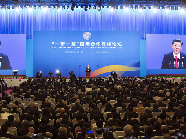 Chinese President Xi Jinping delivers his speech during the opening ceremony of the Belt and Road Forum in Beijing on May 14. Xi offered tens of billions of dollars for projects that are part of his signature foreign policy initiative linking China to much of Asia, Europe and Africa.