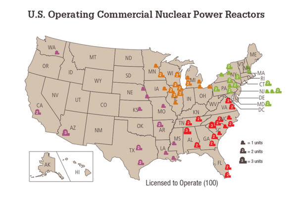"There are about 100 commercial nuclear reactors licensed to operate. <a href=""http://www.nrc.gov/reactors/operating/list-power-reactor-units.html"">Link to a full list</a>."