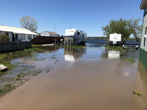 The owners of the Greene Point Marina shut down the family resort park last week after continued flooding in Sandy Pond. It has placed some mobile homes and docks under water.