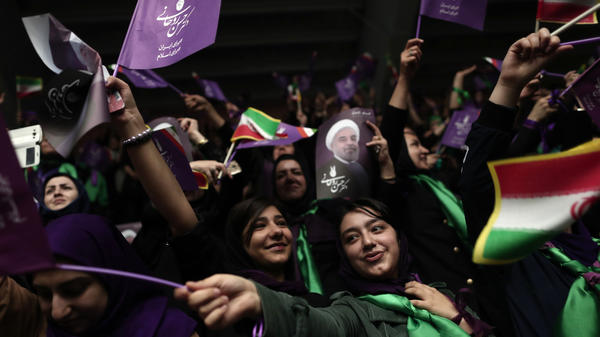 Supporters of Iranian President Hassan Rouhani gather for a campaign rally in Ardabil, Iran, on Wednesday.