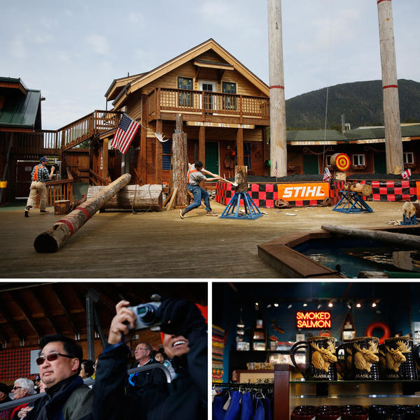 Top: The Great Alaskan Lumberjack Show, where burly competitors in flannel shirts and suspenders chop stumps, saw logs, and heave axes at a bullseye. Bottom left: Visitors snap photos at the show. Bottom right: The many Alaska-themed gifts found throughout Ketchikan.