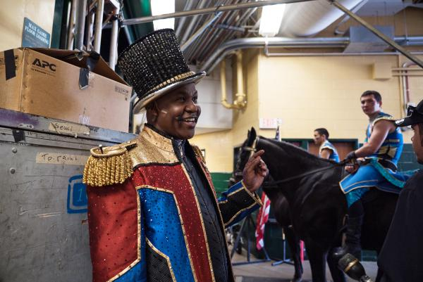 Iverson waits in the wings of the EagleBank Arena at George Mason University in Fairfax, Va., before one of the final matinee performances. Recruited by Ringling fresh out of college, Iverson has been with the circus almost half his life.