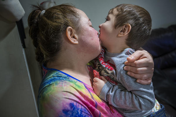 Rosa Benitez and her 2-year-old son Brandon. (Jesse Costa/WBUR)