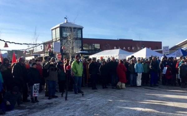 "Whitefish residents held a ""love not hate"" rally January 7, 2017 in response to calls from a neo-Nazi website to target locals with anti-Semitic online harassment."