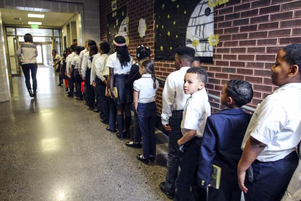 Second-graders line up in the hall at St. Marcus Lutheran School in Milwaukee.