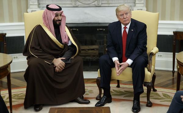 President Trump meets Saudi Arabia's Deputy Crown Prince Mohammed bin Salman in the Oval Office on March 14. Trump is traveling to the kingdom Friday on his first foreign trip.