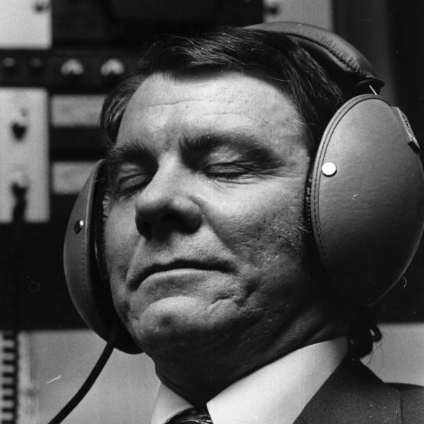 A man listens during a high fidelity demonstration in April, 1974.