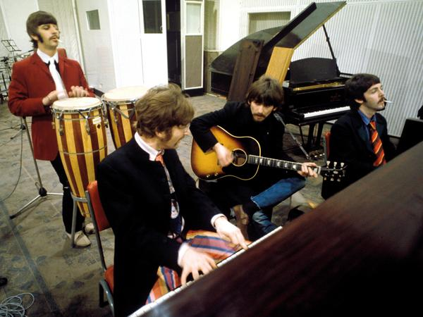 The Beatles during the <em>Sgt. Pepper's Lonely Hearts Club Band</em> sessions in 1967.