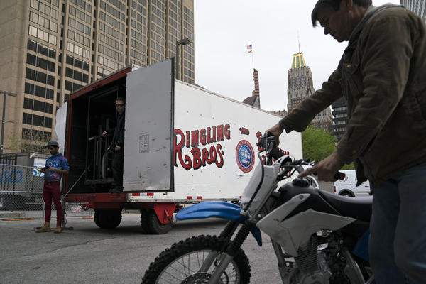 "A Ringling Bros. and Barnum & Bailey's circus truck is unloaded as the ""Out of this World"" show is set up at the Royal Farms Arena in Baltimore. This was one of the last few stops on the circus's final tour."