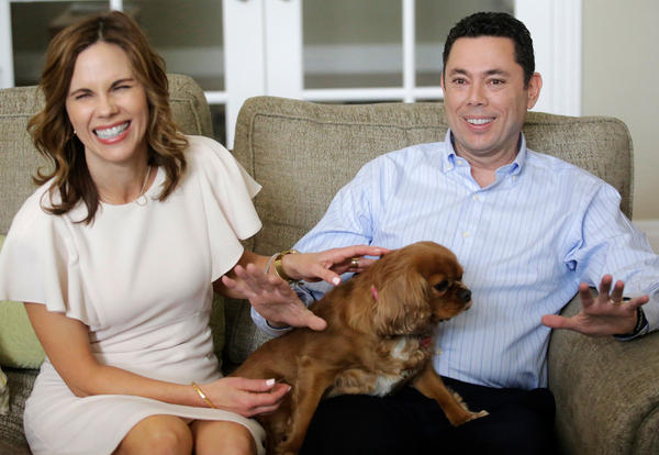 U.S. Rep. Jason Chaffetz and his wife, Julie, speak with reporters at their home on Thursday in Alpine, Utah, about his decision to leave Congress at the end of June.