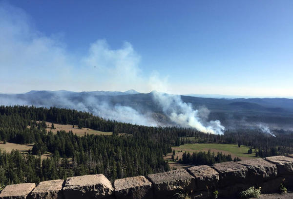 <p>This Tuesday, Aug. 2, 2016, photo provided by Inciweb.gov shows the Bybee Creek wildfire burning near Crater Lake, Ore. The wildfire burning southwest of Crater Lake has spread to more than 700 acres, prompting an evacuation warning for some parts of Crater Lake National Park.</p>