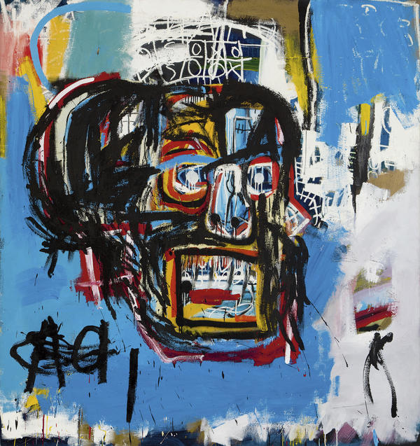 "Jean-Michel Basquiat's <em>Untitled</em> was produced in 1982. The <a href=""http://www.latimes.com/entertainment/la-et-entertainment-news-updates-may-basquiat-painting-auction-1495159714-htmlstory.html"">Los Angeles Times says</a> that until shortly before Thursday's auction, it hadn't been shown in public since a private collector bought it for $19,000 in 1984."