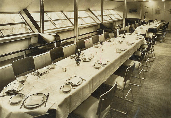 Before it became a byword for disaster, the Hindenburg heralded an era of fine dining in the skies. Passengers received seating assignments for specific meal times. After dinner, many gathered in the pressurized bar and smoking lounge.