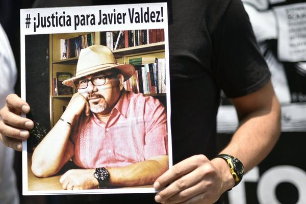 A picture of slain Mexican journalist Javier Valdez.  Mexico ranks third in the world for the number of journalists killed, after Syria and Afghanistan, according to media rights group Reporters Without Borders.