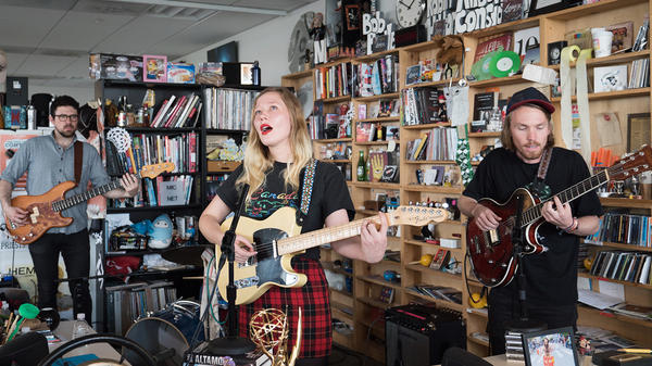 Julia Jacklin performs a Tiny Desk Concert on May 1, 2017. (Claire Harbage/NPR)