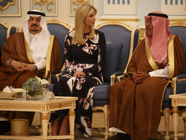 Ivanka Trump participates in a presentation ceremony of The Collar of Abdulaziz Al Saud Medal to President Trump at the Royal Court Palace on Saturday in Riyadh.