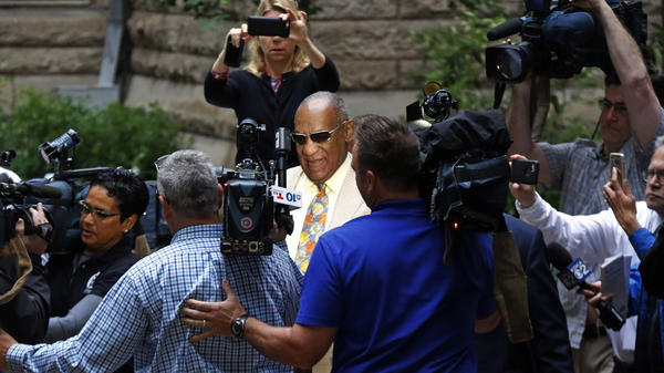 Bill Cosby arrives for jury selection in his sexual assault case at the Allegheny County Courthouse in Pittsburgh on Monday.