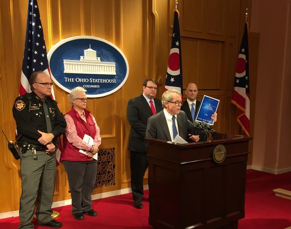 Attorney General Mike DeWine presents report that addresses ways schools could educate students about drug abuse in February.