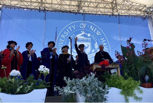 UNH President Mark Huddleston (right) with honorary degree recipients and honorees at Saturday's ceremony, including Gen. Lori Robinson and Gov. Chris Sununu.