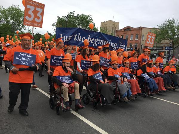 Local 33-Unite Here demonstration in New Haven on Monday, May 22, 2017.