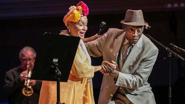 Omara Portuondo (vocals) and Papi Oviedo (Tres player) perform in the documentary <em>Buena Vista Social Club: Adios</em>.