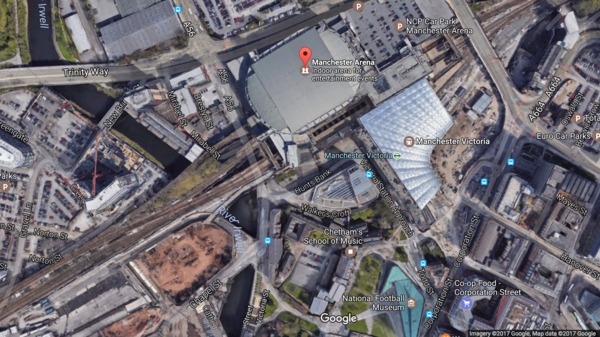 A terrorist bomber struck in the center of Manchester, police say, in the area between the exits of Manchester Arena and the Victoria Train Station.
