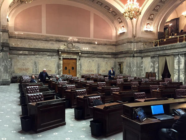 The Washington State Senate chamber was nearly empty Tuesday as the first overtime session of 2017 was gaveled to a close.