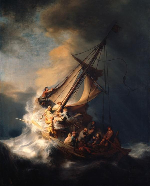 <em>Christ in the Storm on the Sea of Galilee</em>, a 1633 painting by Rembrandt, was stolen from the Isabella Stewart Gardner Museum in 1990.